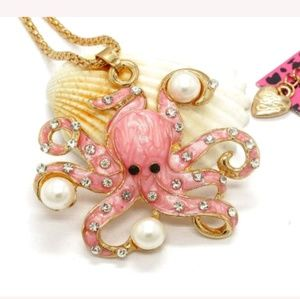 New Betesy Johnson Pink octupus necklace